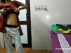 Indian Bhabhi In Brown Shalwar Suit Changing In Hotel Room and Masturbating